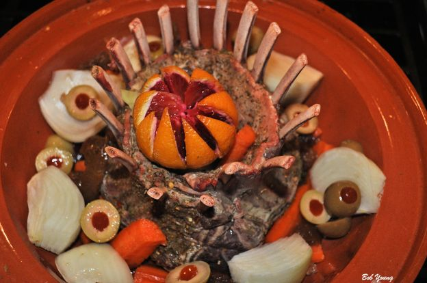 Tagine of Crown Roast of Lamb getting ready to be put in the oven.
