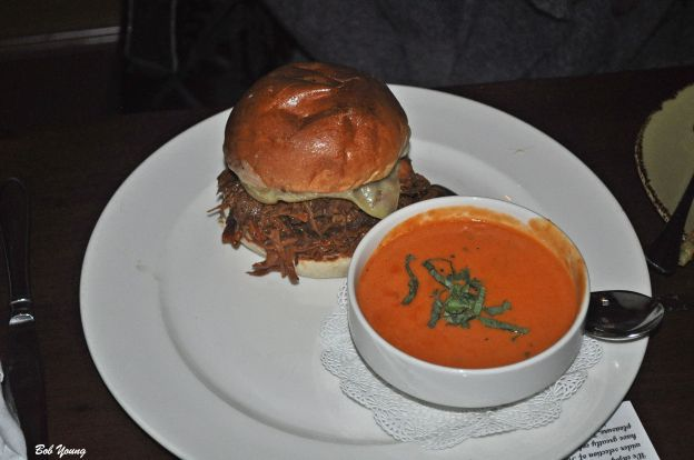 Urban Burger with Tomato Basil Soup.