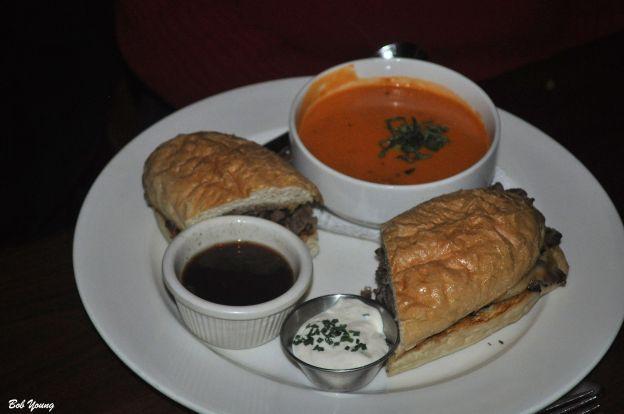 Prime Rib French Dip wtth Tomato Basil Soup