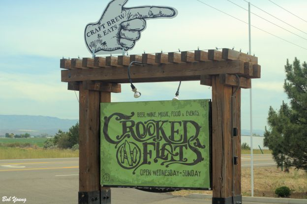 The sign that is at the entrance to Crooked Flats.