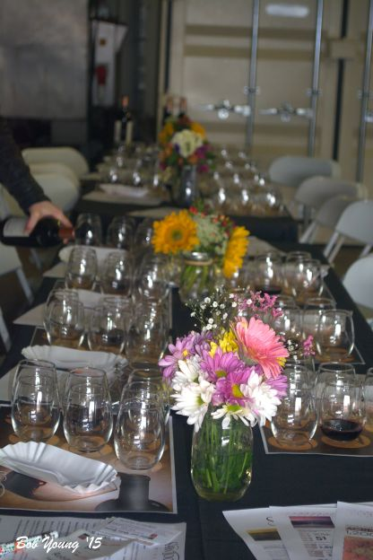 Table setting in the winery.