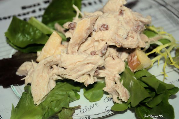 Beer Can Chicken Salad (A really great salad!) True Myth Chardonnay really a light chardonnay that pared well with the salad from the spice and cinnamon over tones. on its own, it was not big. [16] $16.00