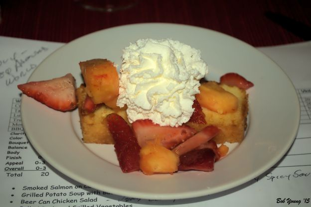 Grilled Pound Cake with Strawberries and Pineapple 2011 Renwood BBQ Zinfandel 14.8% alc a hot Zin but surprisingly good with the dessert, even the pineapple [19] $15.00