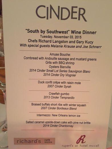The menu and accompanying wines.