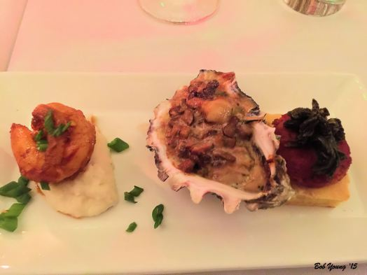 Cornbread with Andouille Sausage and Mustard Greens Grits with BBQ Shrimp Oysters Bienville