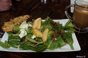 Ridge House Salad: Mixed greens with apple cider vinaigrette, Bleu Cheese and poached pear