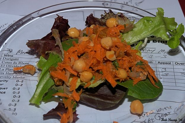 "Morocan Carrot Chicpea Salad 2015 La Playa Viognier 13.5% alc. The wine tended to go ""sour"" with the salad. I found it better to eat the salad without the wine. Both good as separate items. [16] $13.00"