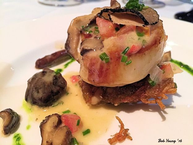 Day Boat Scallop pan seared and set on a truffled potato cake with shiitake mushroom in a citru butter 2014 Vale Viornier