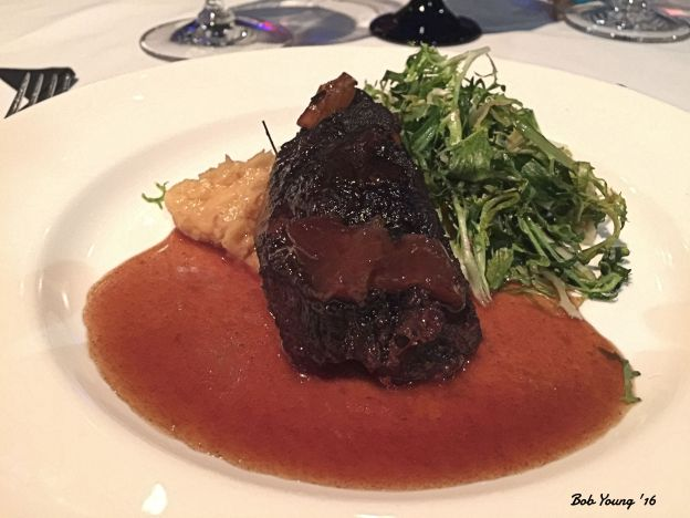 Braised Beef Cheeks with celery root and parsnip puree wilted frisee and sherry jus 2012 Vale Merlot