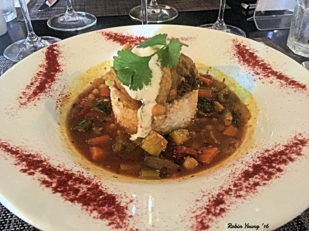 Moroccan Chicken garbanzo beans, tomato, zucchini served over jasmine rice, cumin yogurt, cilantro 2014 Parma Ridge Winery Syrah another super good wine/food paring. wine went extremely well with the spiciness of the entrée