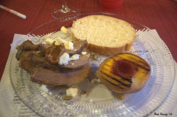 Pork and Grilled Peach 2013 Blacksmith Merlot Alc. 14.2% great finish and acid balance. [17] $17.00