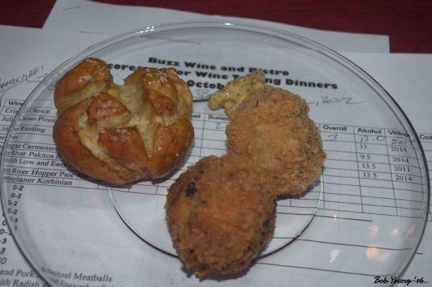 Pretzels and Pork Schnitzel Meatballs 2014 Julia James Pinot Noir. a13% alc. an OK wine. the Snake River Pakitos IPA went better, though