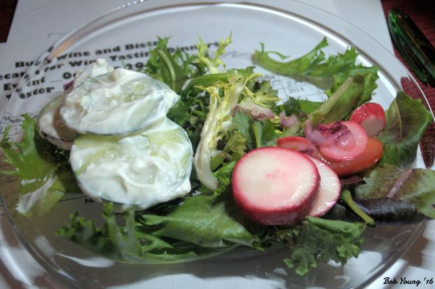 Greens with Radish and Cucumber Salad 2014 Urban Riesling 9.5% alc [15] Humboldt Low and Easy Lager was a better paring
