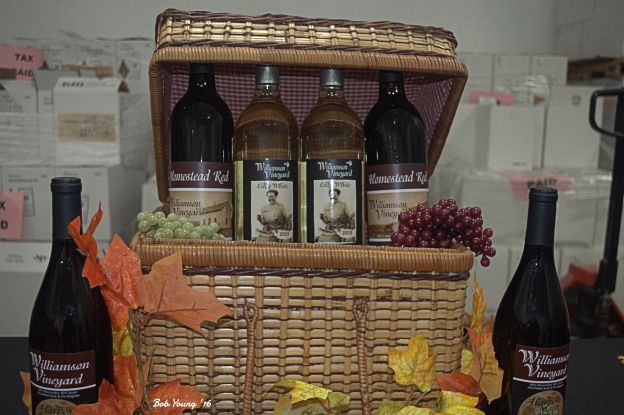 Wine sample display.